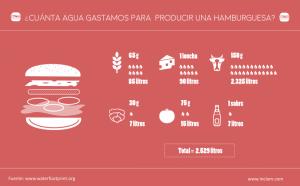 Agua gasta una hamburguesa