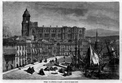 La catedral y el puerto en 1865
